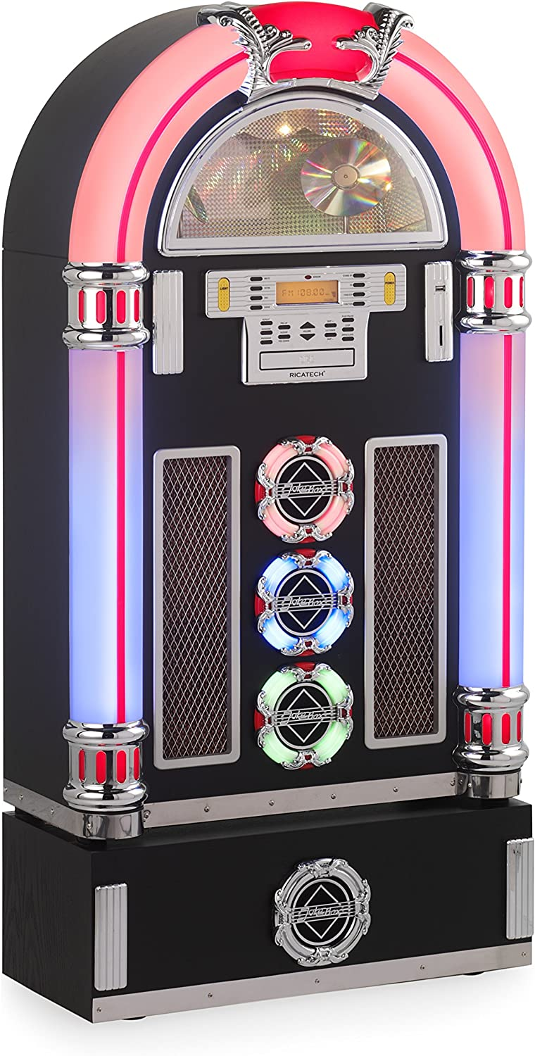 Ricatech RR1600 - jukeboxes (30W, Am, FM, SD, 3.5 mm, 65.5 cm, 1.029m) Negro