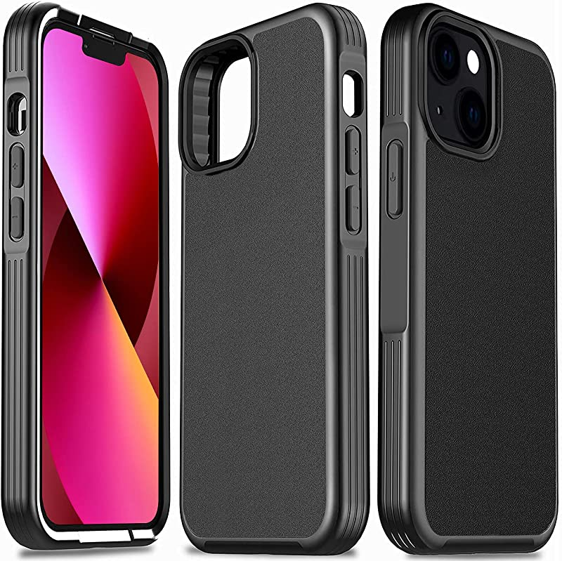 Milomdoi Shockproof Designed for iPhone 13 Case, [Heavy Duty Military-Grade Cover] Matte Hard PC Back & Flexible Frame, Heavy Duty Protective Phone Case 6.1 inch 5G 2021, Black