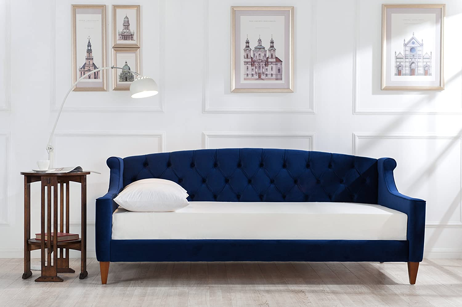 Jennifer Taylor Home, Sofa Bed, Navy Blue, Velvet, Hand Tufted, Hand  Painted and Hand Rub Finished Wooden Legs