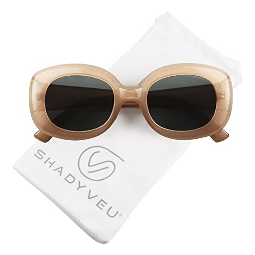 ce92a9ae7c6 ShadyVEU - Bold Square Thick Block Frame 60 s Inspired Jackie O Retro  Oversize Vintage Sunglasses