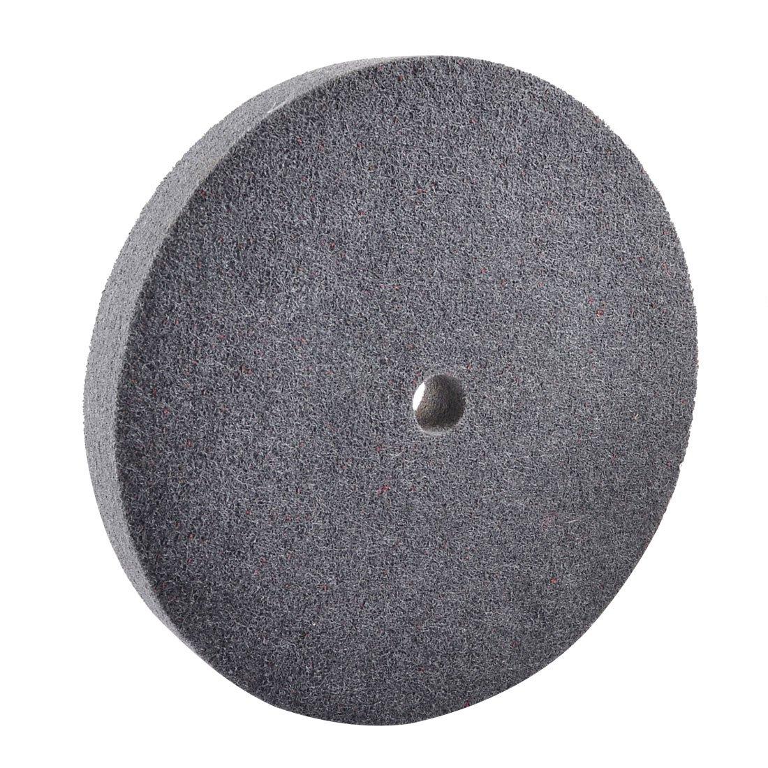 uxcell 8'' Outside Dia 12P 320# Grit Dark Gray Nylon Polishing Wheel Disc Pad