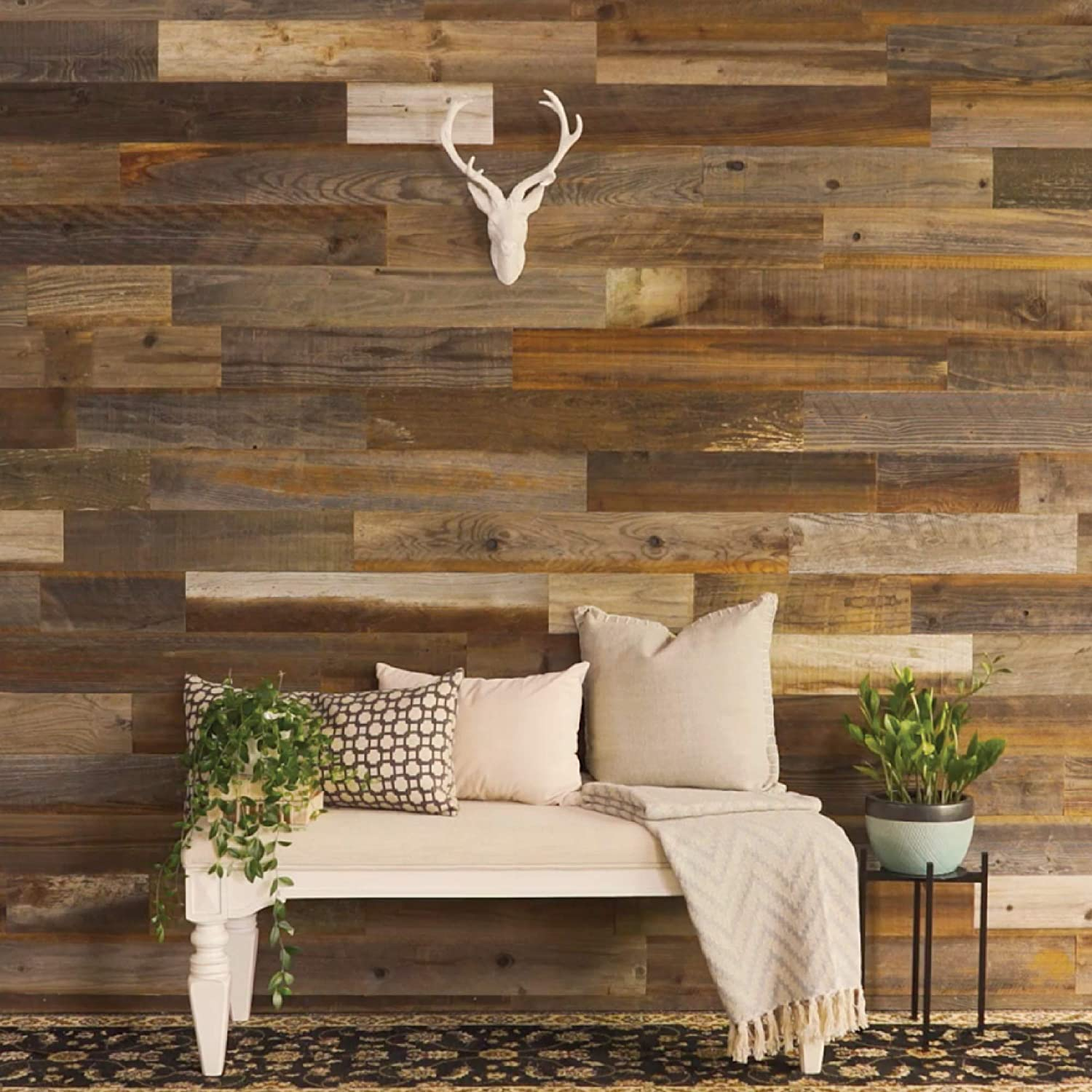 Amazon Com Weekend Walls Reclaimed Weathered Redwood Diy Easy Peel And Stick Wood Wall Paneling 40 Sq Ft Natural Home Improvement