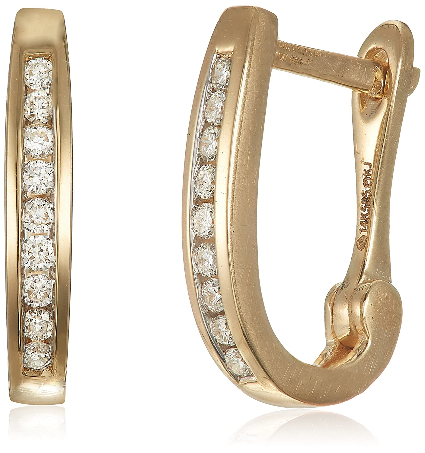 Buy Senco Gold 14KT Yellow Gold and Diamond Hoop Earrings for ...
