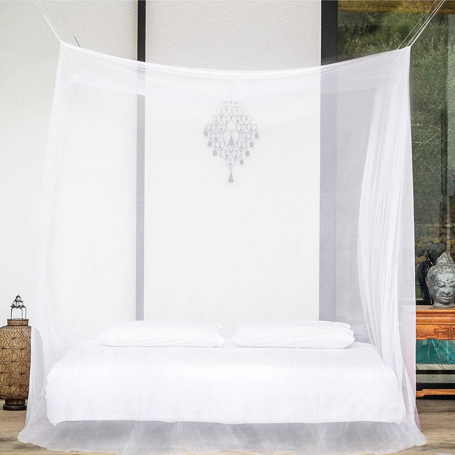 Amazon.com: PREMIUM MOSQUITO NET for Double Bed, TWO Openings, Square  Netting Curtains, Canopy for Beds, Rectangular Fly Screen, Insect  Protection Repellent ...
