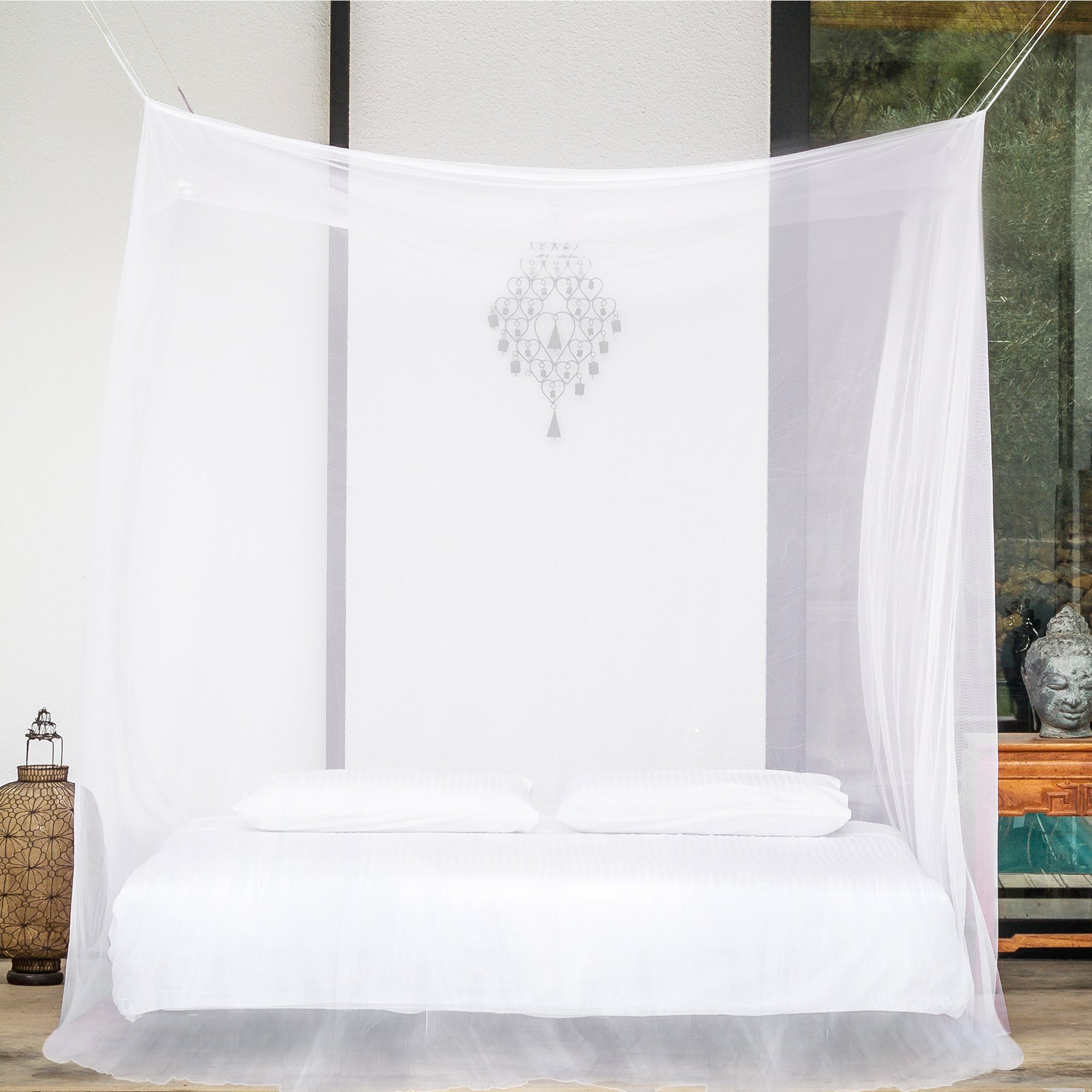 EVEN Naturals Mosquito NET for Bed Canopy, Tent for Full, Double to Super Queen Size, Large Square Curtains, White Mosquito Netting with 2 Openings, Easy Installation, Carry Bag