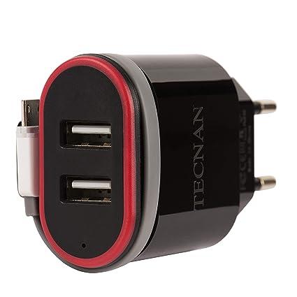 tecnan - Cargador USB de 2 Puertos, Adaptador de Carga con ...