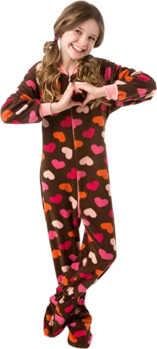 ... Big Feet Pjs Kids Footed Onesie Chocolate Brown with Hearts Footed  Pajamas ... 594d5c74c