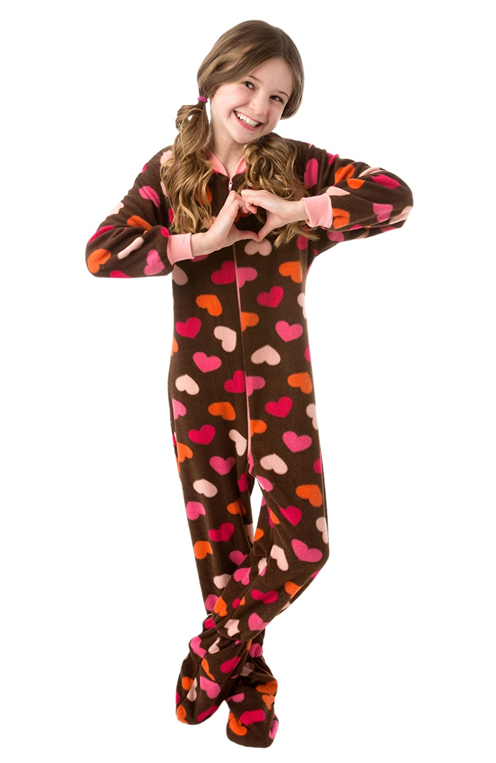 Amazon.com: Little Girls Brown with Pink Hearts Fleece Footed ...