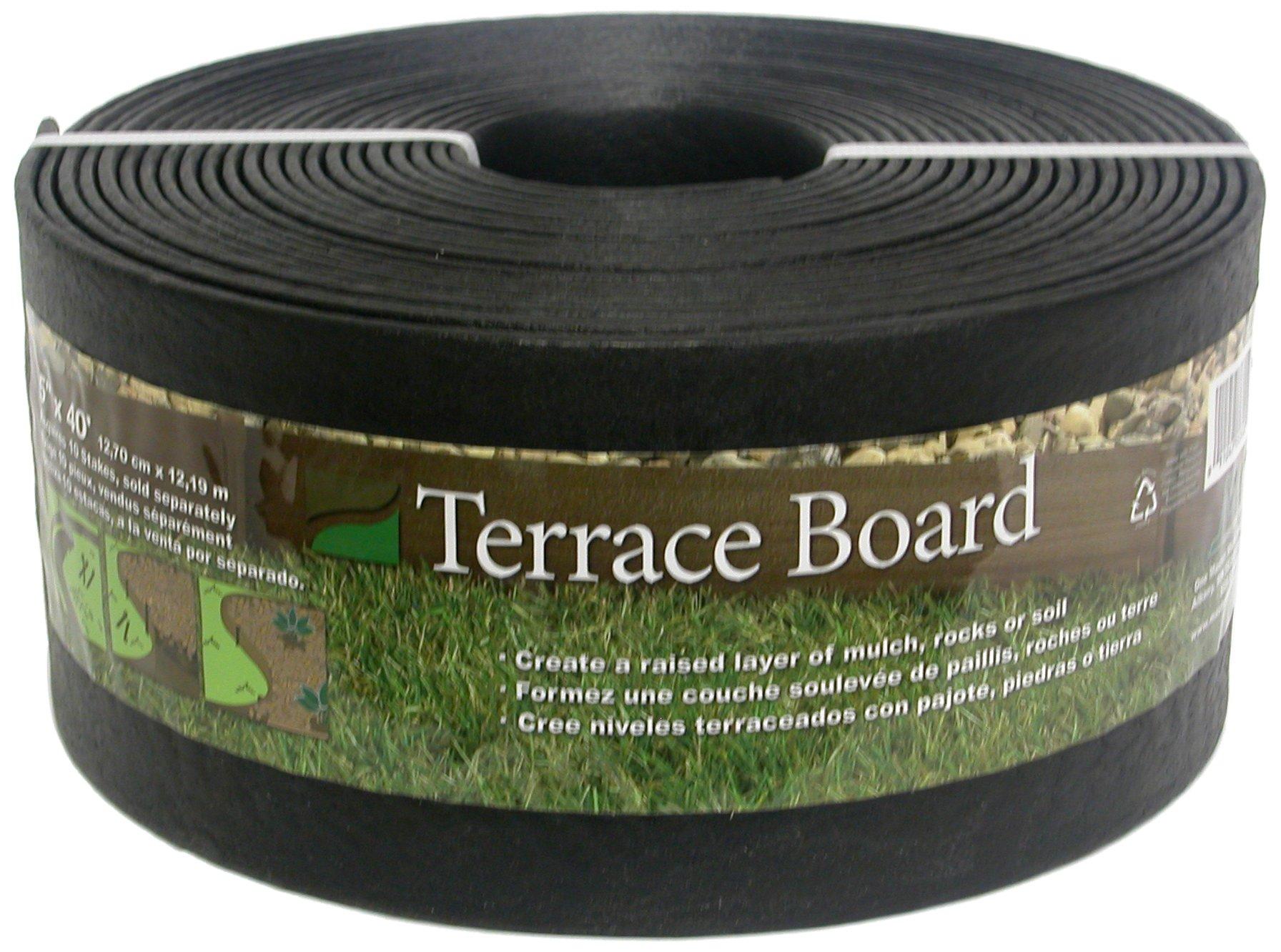 Master Mark Plastics 95440 Terrace Board Landscape Edging Coil 5 Inch by 40 Foot, Black