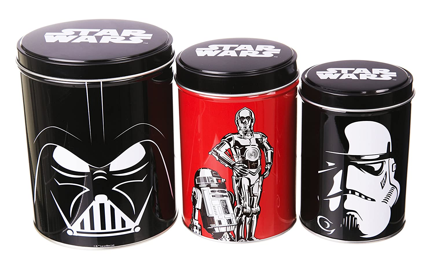 amazon com star wars set of 3 tin canisters home kitchen