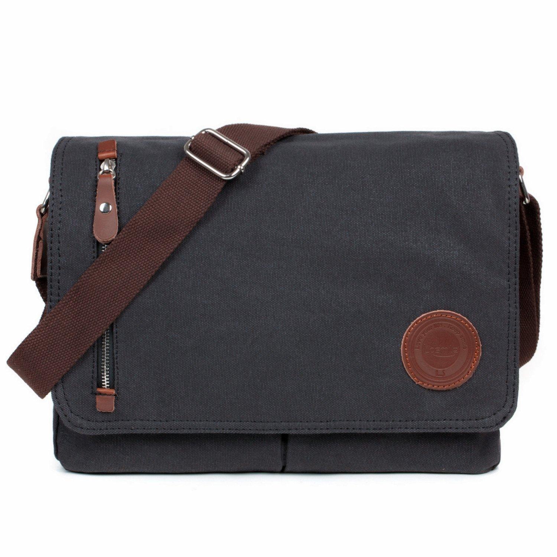 2b69367c52 LOSMILE Mens Canvas Messenger Shoulder Bag. (Black) product image