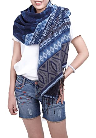 9dc7061590d écharpe hiver femme foulard grande taille châle cache-col réversible franges  à motifs bleu
