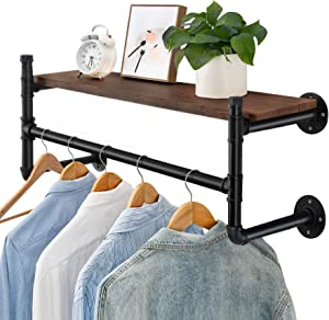 Oyydecor Industrial Pipe Clothes Rack, Heavy Duty Wall Mounted Black Iron Garment Rack Bar, Multi-Purpose Hanging Rod for Closet Storage, Laundry Room, 44'' Length, No Planks (Four Base)