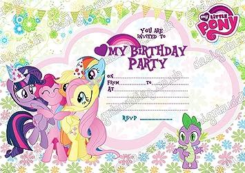 Juego de 10 invitaciones de cumpleaños con un diseño de My Little Pony que incluye 10 sobres (idioma español no garantizado): Amazon.es: Hogar