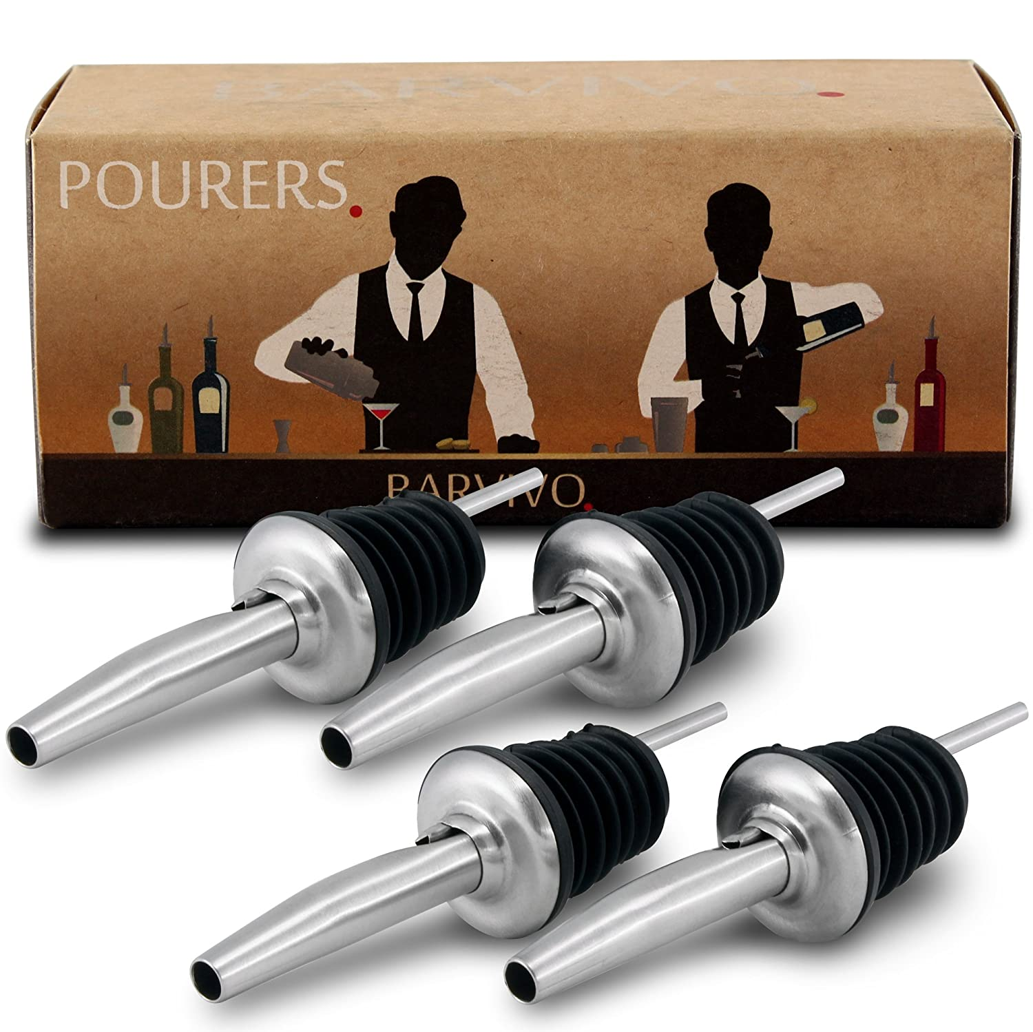 Professional Liquor Pourers Set of 4 by Barvivo - Classic Free Flow Bartender Bottle Pourer w/Tapered Spout, Fits Alcohol Bottles up to 1l. - Best for Pouring Wine, Spirits, Syrup and Olive Oil.