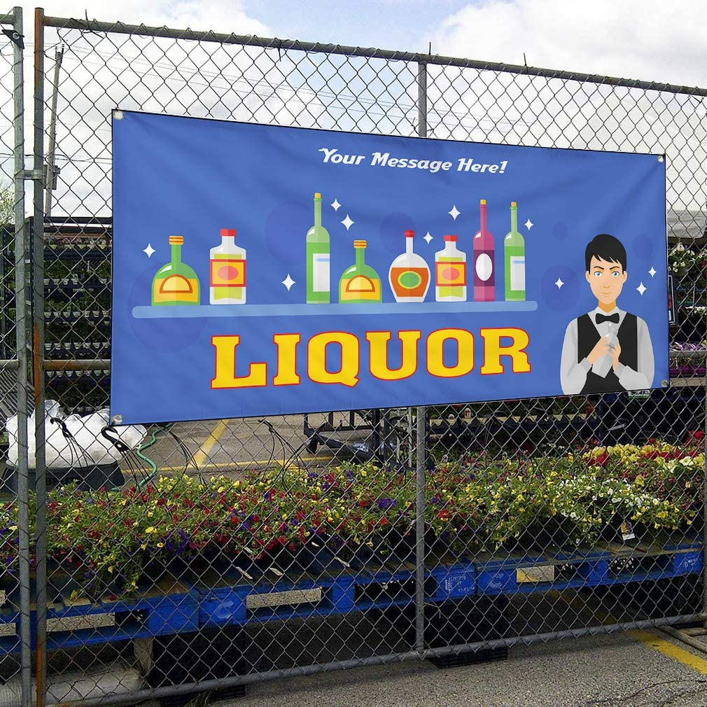 Custom Industrial Vinyl Banner Multiple Sizes Liquor Style F Personalized Text Here Funny and Novelty Outdoor Weatherproof Yard Signs Blue 10 Grommets 48x120Inches