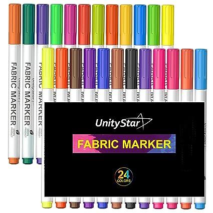 Tela Marcadores, unitystar 24 colores tela pintura bolígrafos con punta fina y permanente colores para
