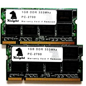 """KNIGHT 2GB kit DDR 333 MHz PC2700 (2X1GB) SODIMM for Apple PowerBook G4, 1.67GHz, 15"""" & 17"""" (Early 2005)"""