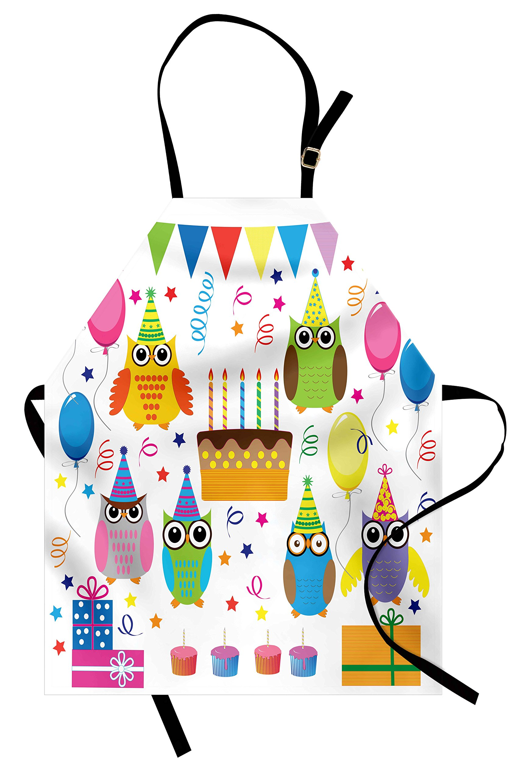 Lunarable Owl Apron, Colorful Woodland Animals Gathered for Birthday Party Balloons Cake and Stars Cartoon, Unisex Kitchen Bib Apron with Adjustable Neck for Cooking Baking Gardening, Multicolor