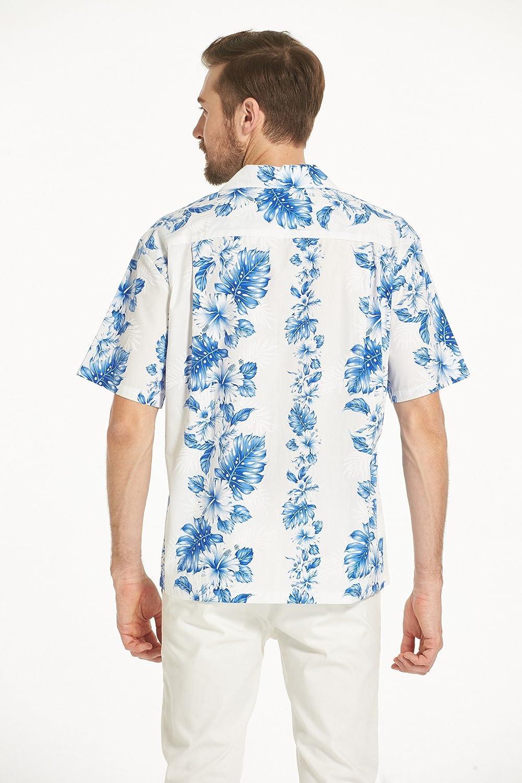 Made in Hawaii Couple Matching Luau Aloha Shirt Tank Dress Blue Hibiscus Panel in White
