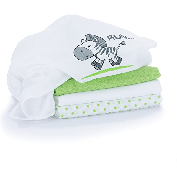 Muselina / Paño / Gasa algodón bebé - 4 Ud, 80x80 cm, estampado ...