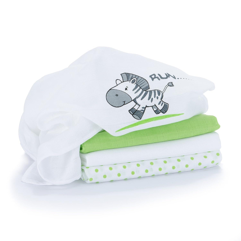 Lange bébé en mousseline de coton | Lot de 4 | 80 x 80 cm | Qualité supérieure - Motif zèbre, double tissage, bordure renforcée, certifié Öko-Tex Standard 100, lavable à 60° C Makian