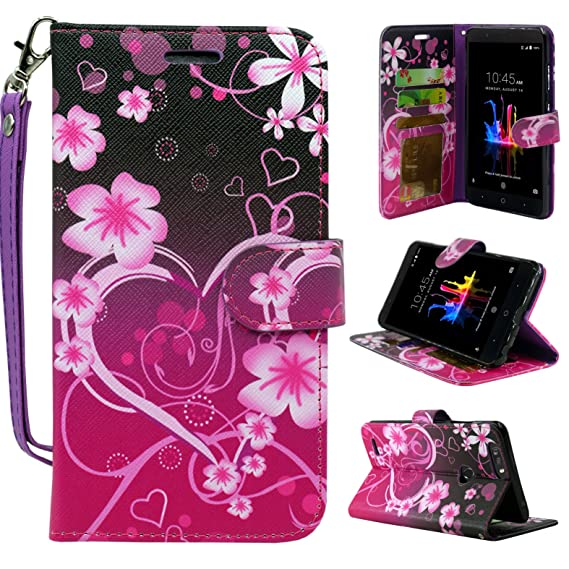 brand new 59673 54a32 ZTE Blade Z Max Case,ZTE Blade Zmax Pro 2 Case,ZTE Sequoia Case,  Customerfirst Design Premium PU Leather Flip Wallet Credit Card Cover Case  (Big Heart ...