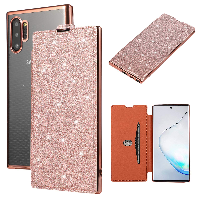 Galaxy Note 10+ Case, Note 10+ 5G Case, Futanwei Luxury Hybrid TPU Leather Flip Wallet Cover Slim Fit Lightweight Anti-Scratch Glitter Transparent Case for Samsung Galaxy Note 10+ Plus/5G, Rose Gold by Futanwei