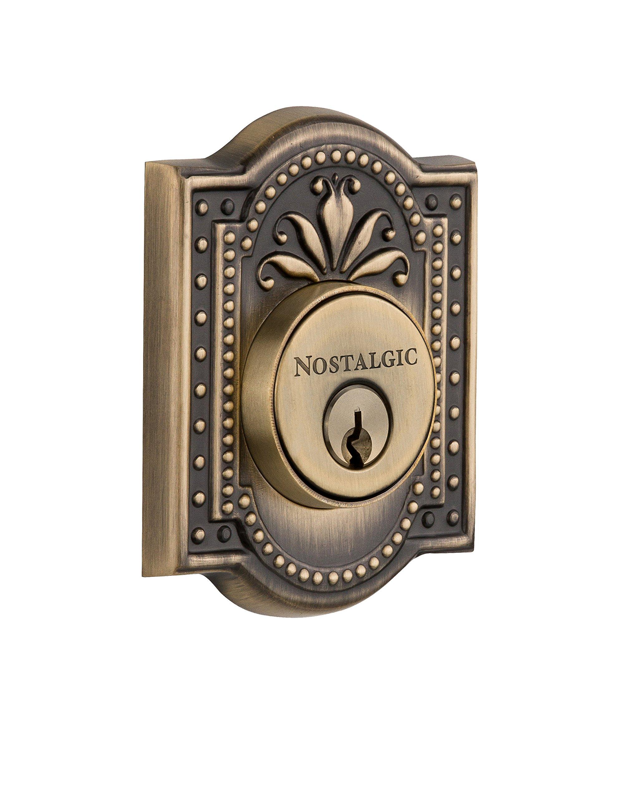 Nostalgic Warehouse 733026 Meadows Plate Double Cylinder Deadbolt Meadows Door Knob, Antique Brass