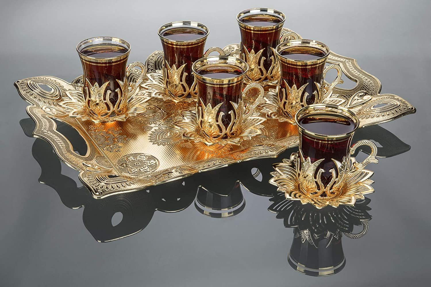 LaModaHome Golden Tea Set of 6 and Tray - Includes 6 Glasses, 6 Saucers Holders, and a Tray - VIP Special Serving Turkish Tulip - Arabic, Moroccan Coffee Sets - Cups and Mugs