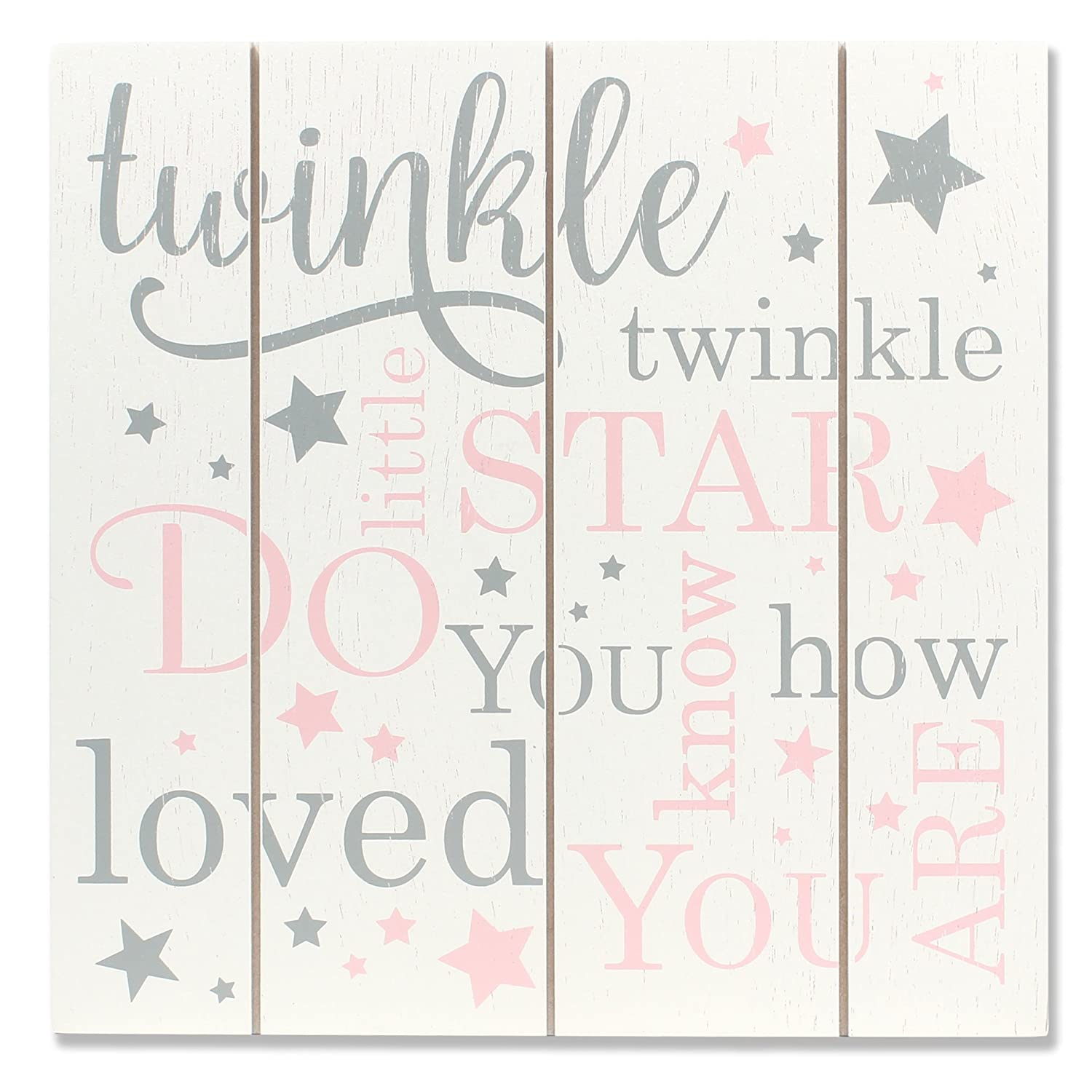 Lawrence Frames 9x9 Distressed White and Pink Wood Panel Sign Twinkle 377699