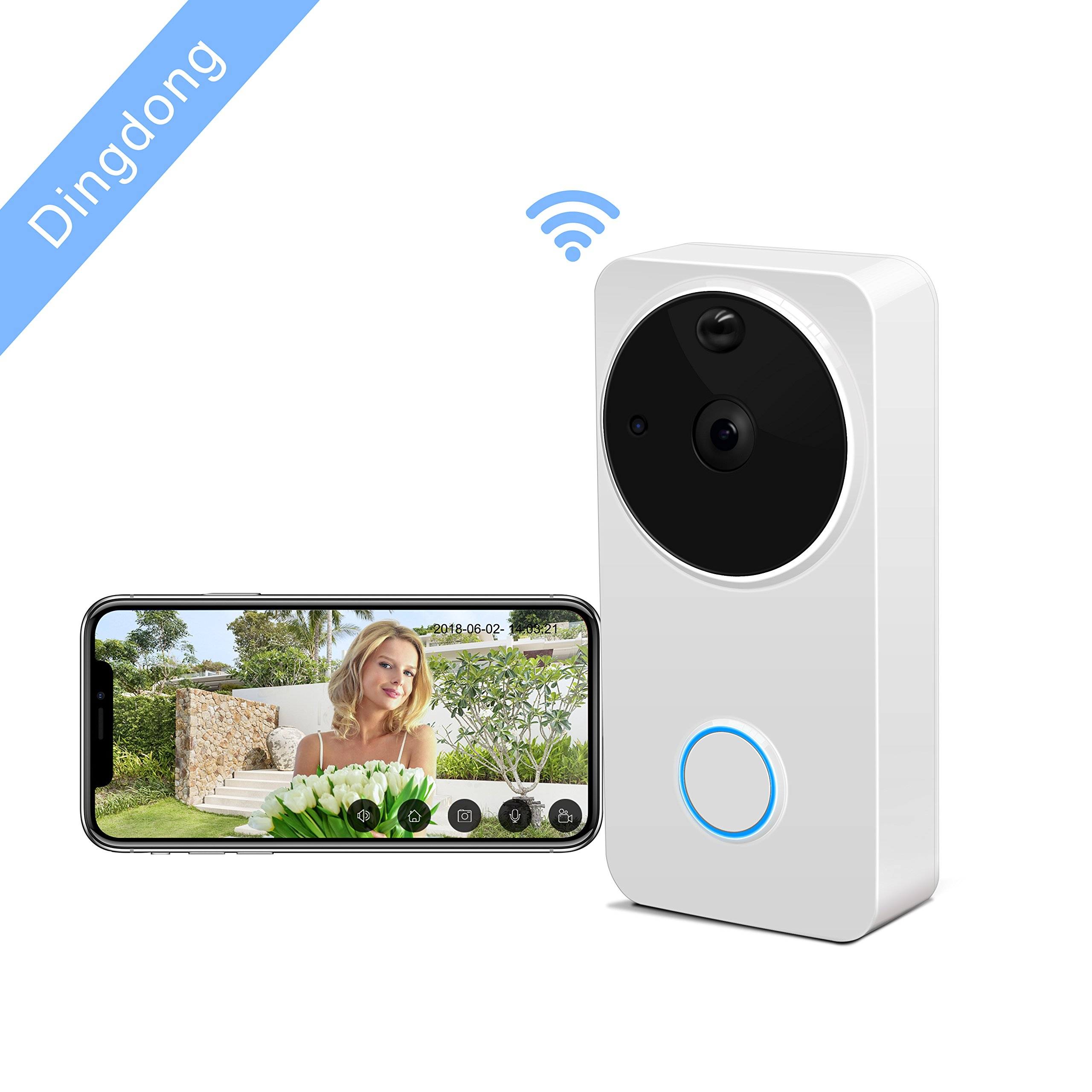 Video Doorbell Wireless - HEIHEI WiFi Smart Door Bell Kit, 720P HD Video, 2-Way Audio, Motion Detection, IR Night Version, Waterproof Home Camera W/2-Battery Built in 16G Card for IOS/Android - White by HEIHEI (Image #1)