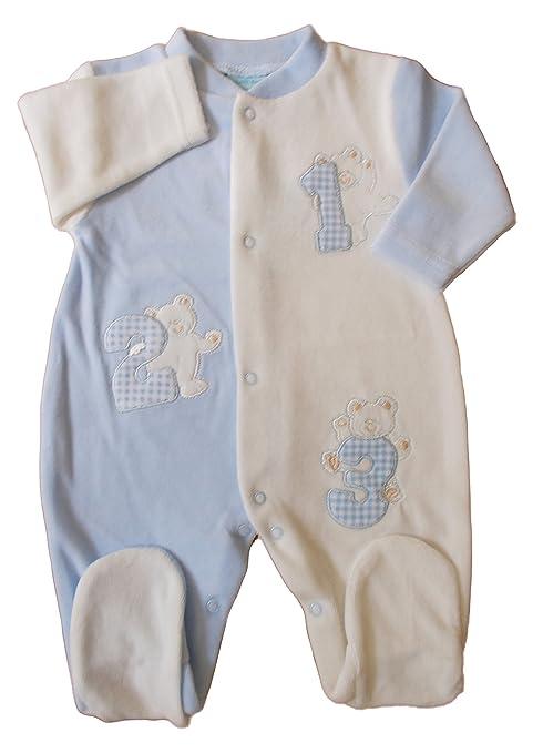 Bebé Niños Azul Crema Terciopelo 123 Teddy pijama Babygrow azul azul ...