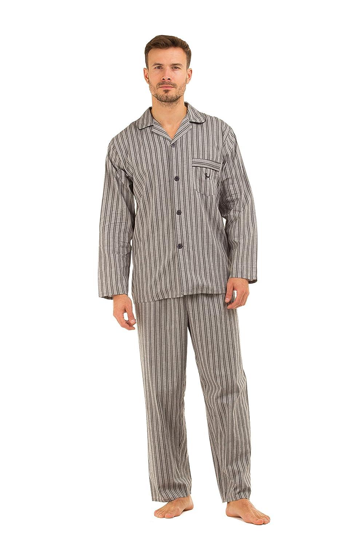 Pijama de hombre Haigman de rayas, 100% de algodón, pantalón y manga largos, formal gris Grey Stripe Medium: Amazon.es: Ropa y accesorios