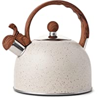 VONIKI 2.5 Quart Whistling Tea Kettle Stainless Steel Tea Pots for Stove Top Stylish Kettle With Wood Pattern Anti-slip…