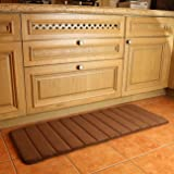 """K-MAT 47"""" x 17"""" Long Anti-Fatigue Memory Foam Kitchen Mats Bathroom Rugs Extra Soft Non-Slip Water Resistant Rubber Back Anti-slip Runner area rug for Kitchen and Bathroom Brown"""