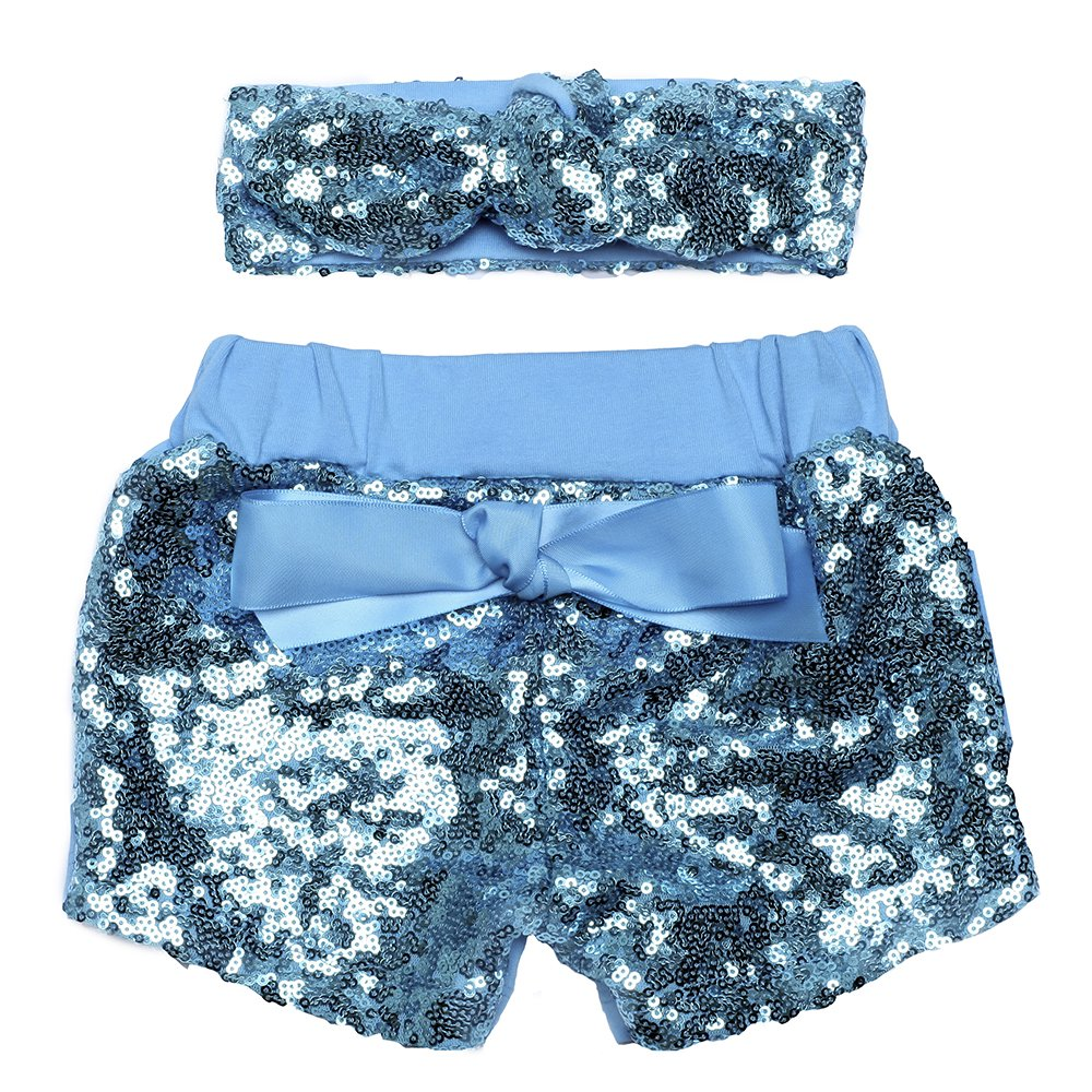 Baby Girls Sparkle Sequin Shorts and Headband Set