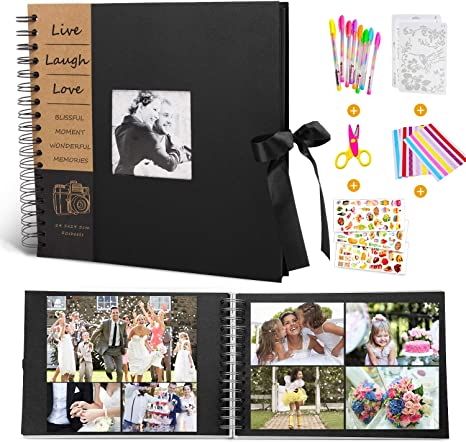 Large Size DIY Scrap Book with 8 Pcs Holiday Theme Drawing Templates Elegant Gift Box 80 Pages Scrapbook Album with Insert Photo Cover for Anniversary Wedding Travelling Photo Album 13 /× 13 Inch