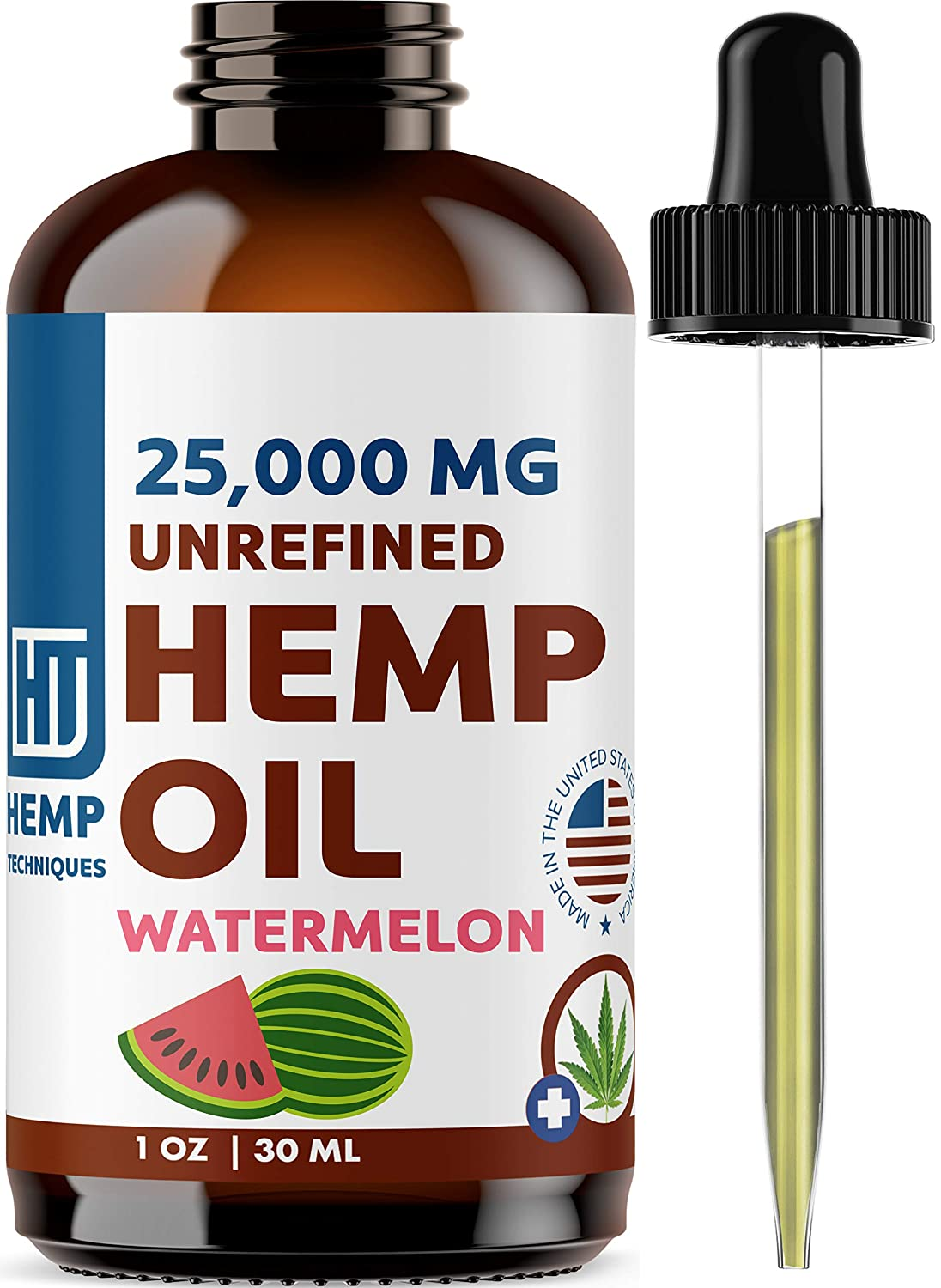 Hemp Oil Watermelon 25,000 MG - Natural Extract for Pain, Anxiety and Stress | Omega 3&6 Fatty Acids Rich | Better Sleep | Great for Skin | Vegan Friendly | Organic