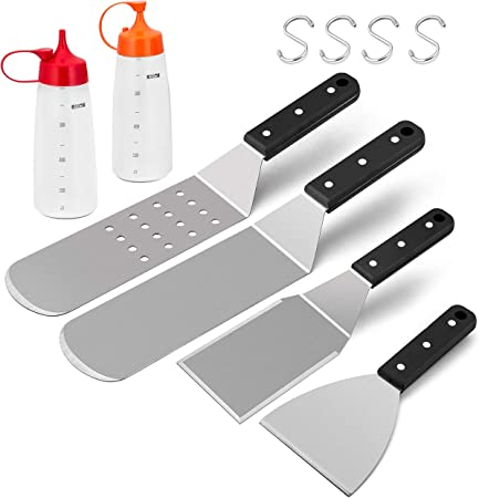 Metal Spatula Grittle Long Flat Stainless Steel Turner BBQ Solid Outdoor Grill