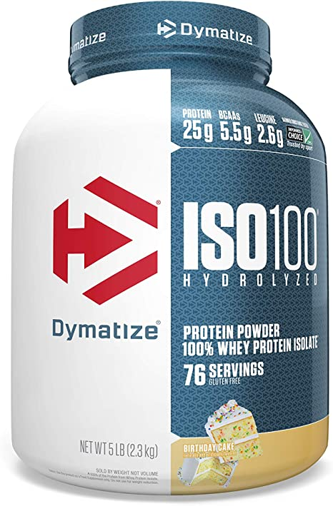 Amazon Com Dymatize Iso100 Hydrolyzed Protein Powder 100 Whey Isolate Protein 25g Of Protein 5 5g Bcaas Gluten Free Fast Absorbing Easy Digesting Birthday Cake 5 Pound Health Personal Care