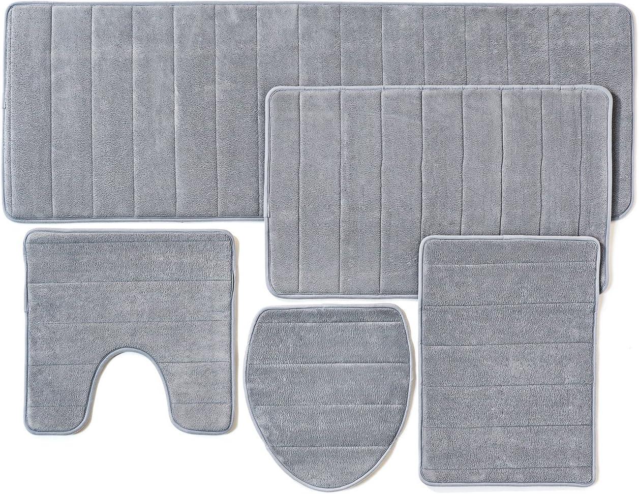 Amazon Com Over The Floor Bathroom Rug Mat 5 Piece Set Memory Foam Extra Soft Non Slip Back Color Gray Pantone 15 4101 Tpx Kitchen Dining