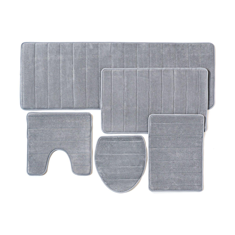 Set di tappetini per il bagno, 5 pezzi in memory foam, extra morbido, antiscivolo sul retro (Beige) Over the Floor SYNCHKG113360