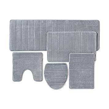 Amazing Bathroom Rug Mat, 5 Piece Set Memory Foam, Extra Soft Non Slip