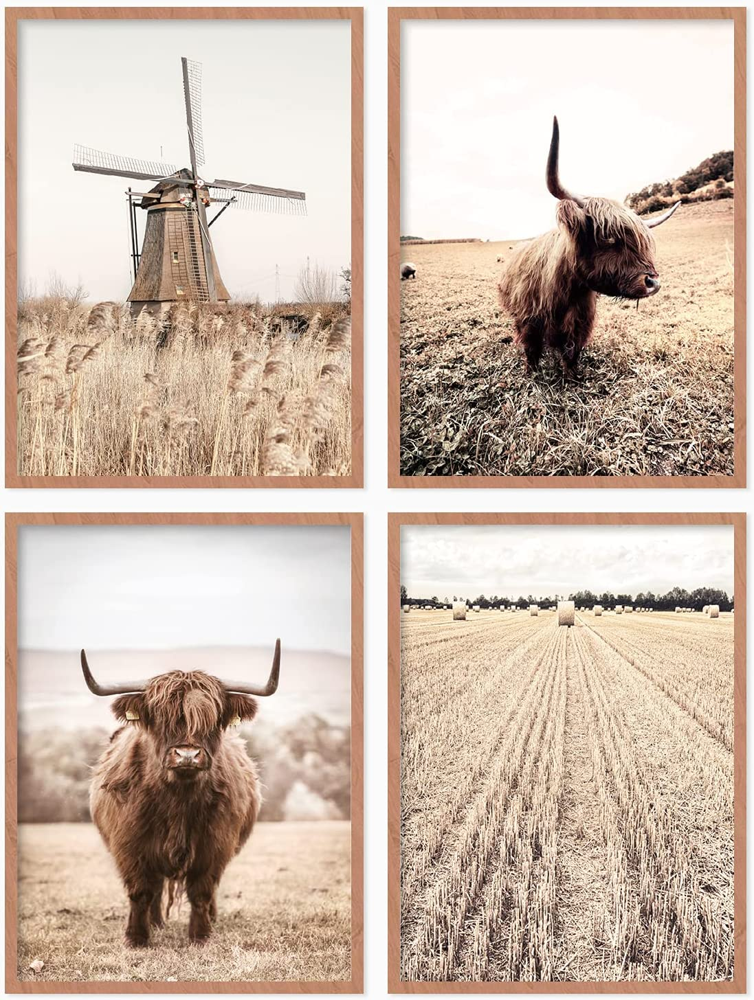 YUMKNOW Farmhouse Cow Wall Decor - Unframed Set of 4, 8x10, Bedroom Cottage Rustic Pictures Vintage Posters for Living Room Modern Country Highland Cow Art for Bathroom, Neutral Cow Decor Stuff Gifts