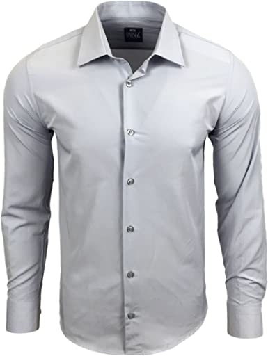 Rusty Neal R de 55 Hombre Camisa Business camisas boda Tiempo Libre Slim Fit manga larga Uni claro gris gris claro large: Amazon.es: Ropa y accesorios