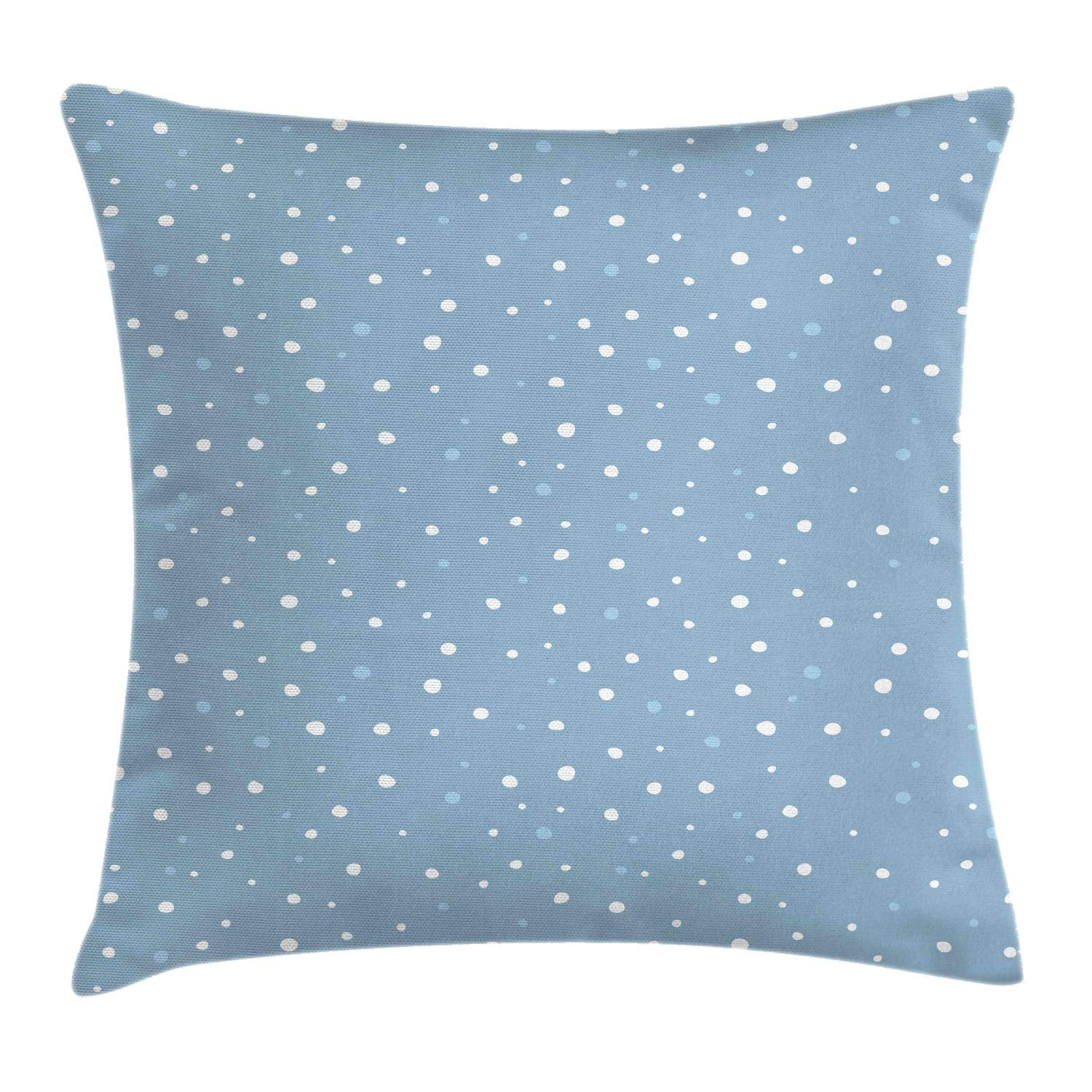 Lunarable Dusty Blue Throw Pillow Cushion Cover, Bubbly Snowflakes Polka Dots Inspired Pattern Nursery Concept, Decorative Square Accent Pillow Case, 26'' X 26'', Slate Blue White Baby Blue by Lunarable