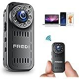 FREDI 小型カメラ ワイヤレス 1080P 高画質 隠しカメラ WiFi対応 4分割画面 防犯監視カメラ ネットワークいらずも対応可能 隠しビデオカメラ 録音 動体検知 暗視 iPhone / Android 遠隔監視・操作 (L16-1080P, ブラック)