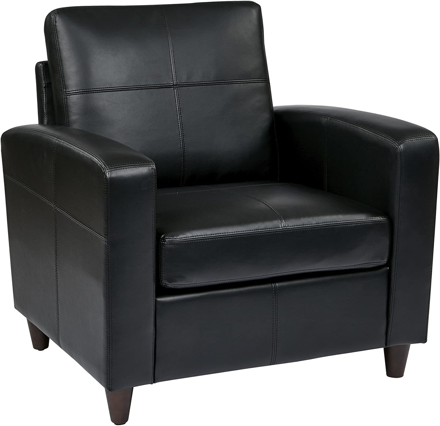 Office Star Breeze Bonded Leather Club Chair with Cherry Finish Legs, Black