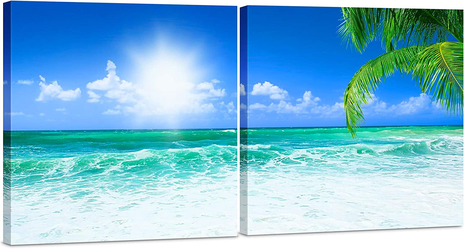 Canvas Wall Art Decor - 24x24 2 Piece Set (Total 24x48 inch)- Blue Coastal Ocean Beach Palm - Decorative & Modern Multi Panel Split Canvas Prints for Dining & Living Room, Kitchen, Bedroom & Office